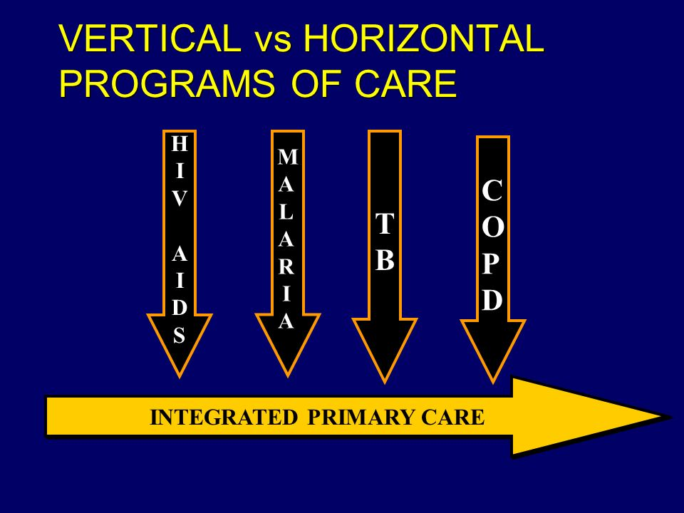 VERTICAL vs HORIZONTAL PROGRAMS OF CARE HIVAIDSHIVAIDS MALARIAMALARIA TBTB COPDCOPD INTEGRATED PRIMARY CARE
