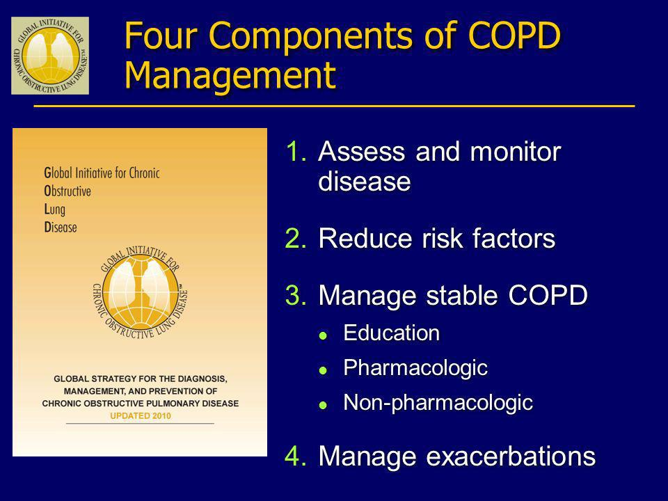 Four Components of COPD Management 1.Assess and monitor disease 2.Reduce risk factors 3.Manage stable COPD l Education l Pharmacologic l Non-pharmacol
