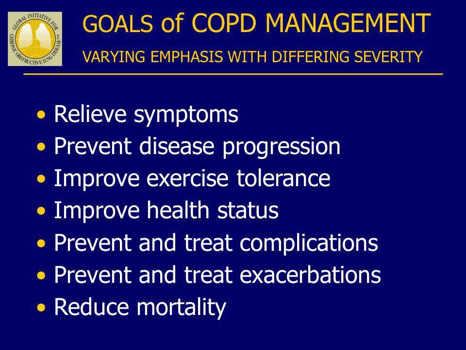 Relieve symptoms Prevent disease progression Improve exercise tolerance Improve health status Prevent and treat complications Prevent and treat exacer