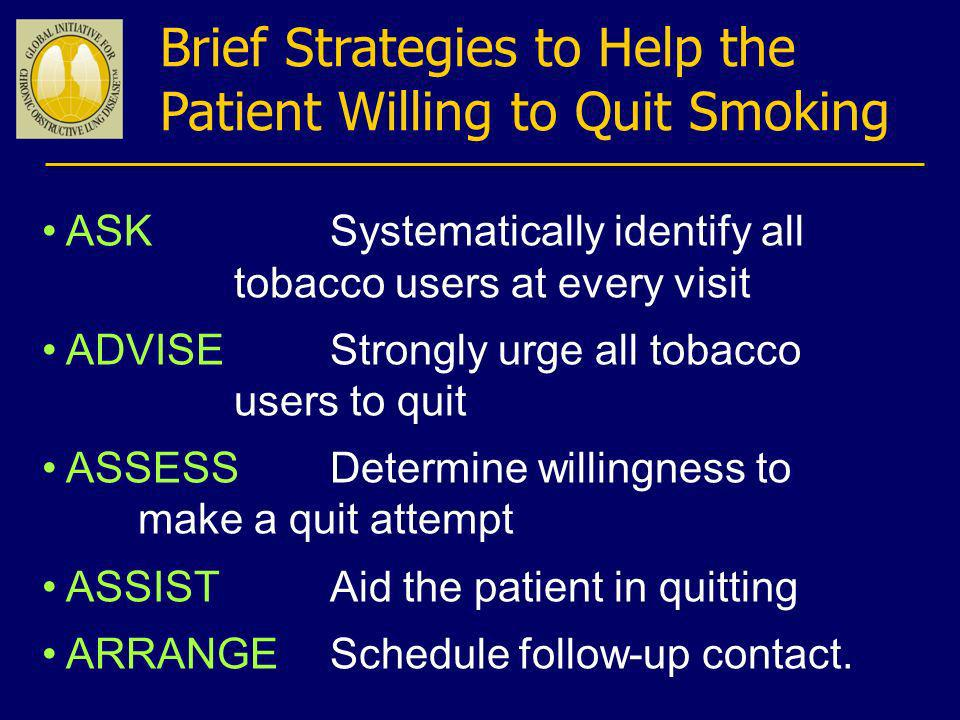Brief Strategies to Help the Patient Willing to Quit Smoking ASK Systematically identify all tobacco users at every visit ADVISEStrongly urge all toba