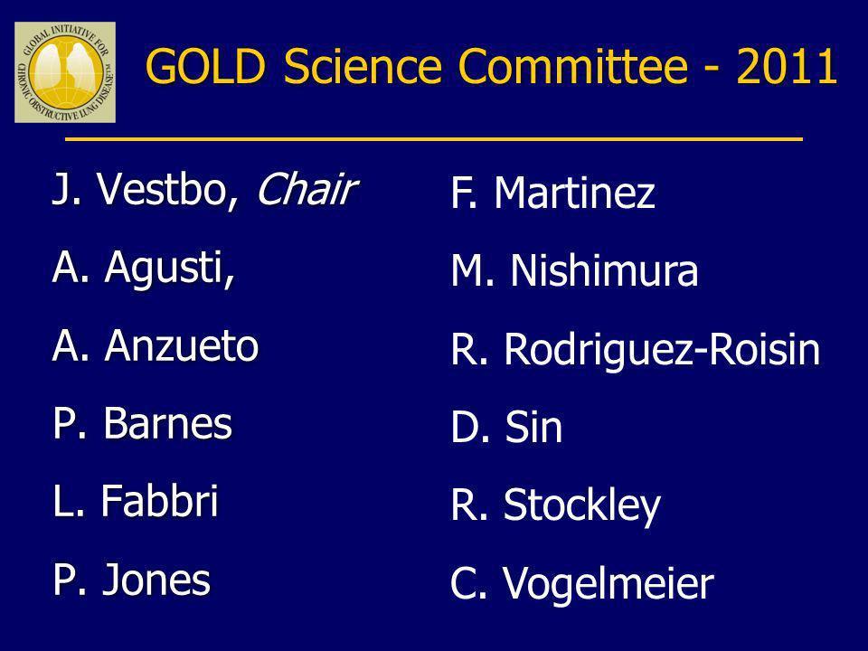 GOLD Science Committee - 2011 J. Vestbo, Chair A. Agusti, A. Anzueto P. Barnes L. Fabbri P. Jones J. Vestbo, Chair A. Agusti, A. Anzueto P. Barnes L.