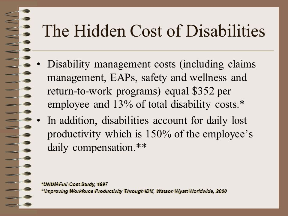 The Hidden Cost of Disabilities Disability management costs (including claims management, EAPs, safety and wellness and return-to-work programs) equal $352 per employee and 13% of total disability costs.* In addition, disabilities account for daily lost productivity which is 150% of the employees daily compensation.** *UNUM Full Cost Study, 1997 **Improving Workforce Productivity Through IDM, Watson Wyatt Worldwide, 2000 *UNUM Full Cost Study, 1997 **Improving Workforce Productivity Through IDM, Watson Wyatt Worldwide, 2000