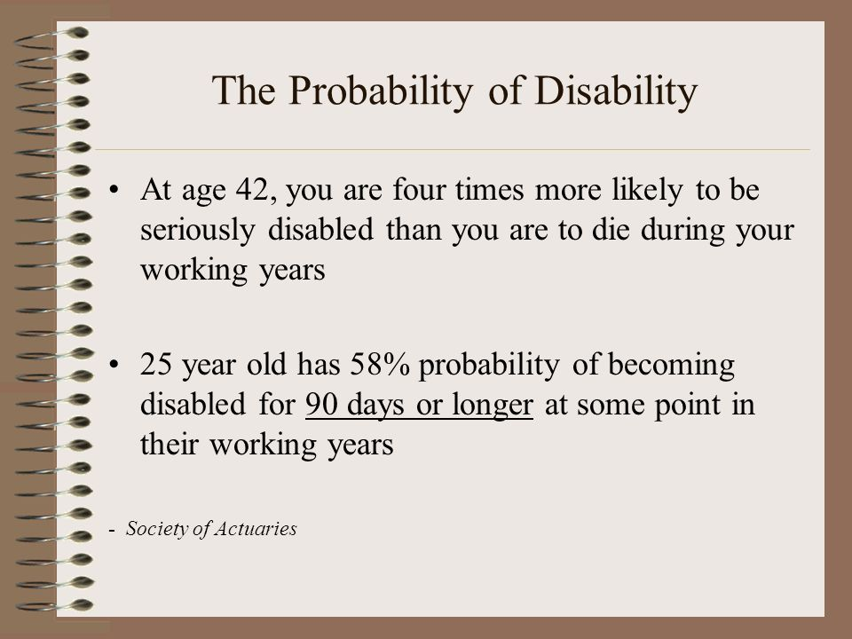 The Probability of Disability At age 42, you are four times more likely to be seriously disabled than you are to die during your working years 25 year old has 58% probability of becoming disabled for 90 days or longer at some point in their working years - Society of Actuaries