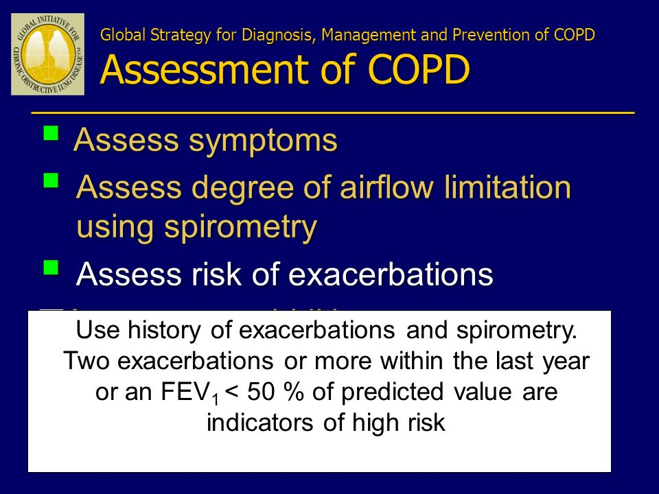 Assess symptoms Assess degree of airflow limitation using spirometry Assess risk of exacerbations Assess comorbidities Assess symptoms Assess degree o