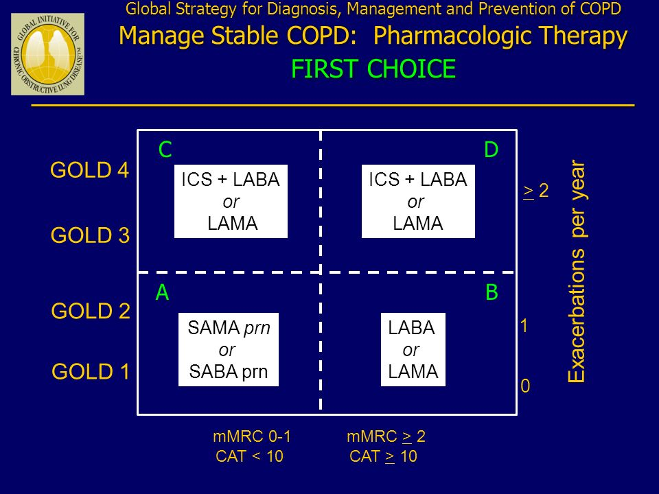 Exacerbations per year > 2 1 0 mMRC 0-1 CAT < 10 GOLD 4 mMRC > 2 CAT > 10 GOLD 3 GOLD 2 GOLD 1 SAMA prn or SABA prn LABA or LAMA ICS + LABA or LAMA Gl