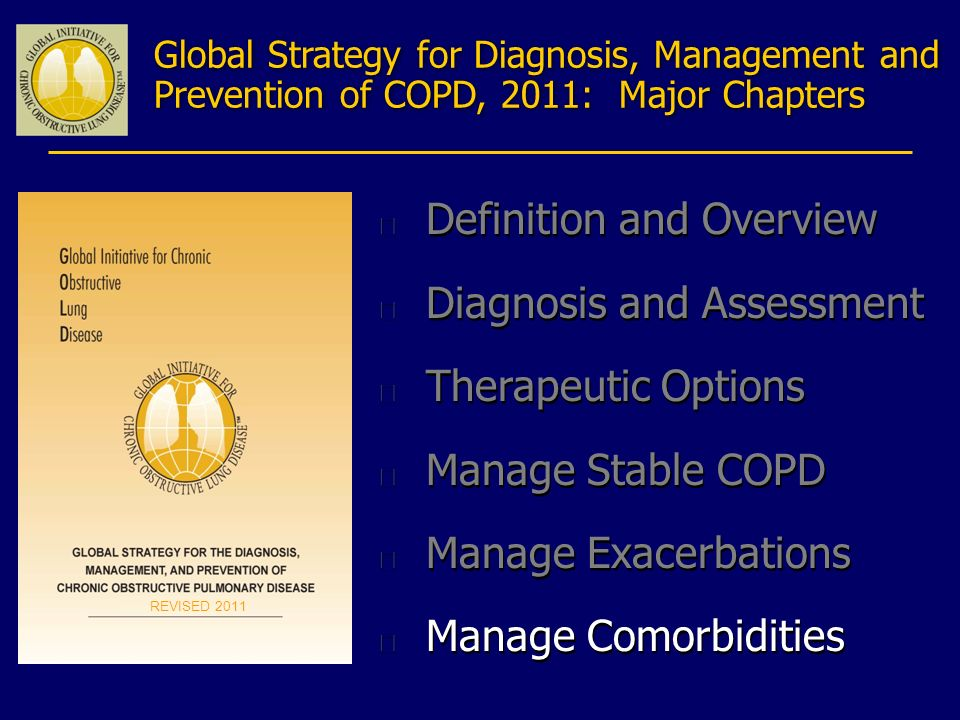 Global Strategy for Diagnosis, Management and Prevention of COPD, 2011: Major Chapters n Definition and Overview n Diagnosis and Assessment n Therapeu