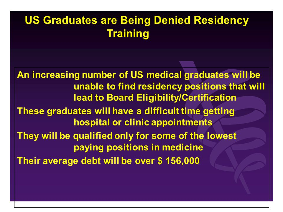 An increasing number of US medical graduates will be unable to find residency positions that will lead to Board Eligibility/Certification These graduates will have a difficult time getting hospital or clinic appointments They will be qualified only for some of the lowest paying positions in medicine Their average debt will be over $ 156,000 US Graduates are Being Denied Residency Training