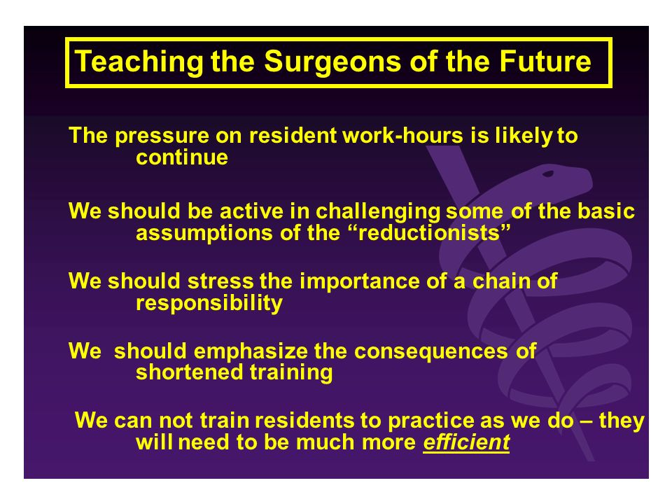 Teaching the Surgeons of the Future The pressure on resident work-hours is likely to continue We should be active in challenging some of the basic assumptions of the reductionists We should stress the importance of a chain of responsibility We should emphasize the consequences of shortened training We can not train residents to practice as we do – they will need to be much more efficient