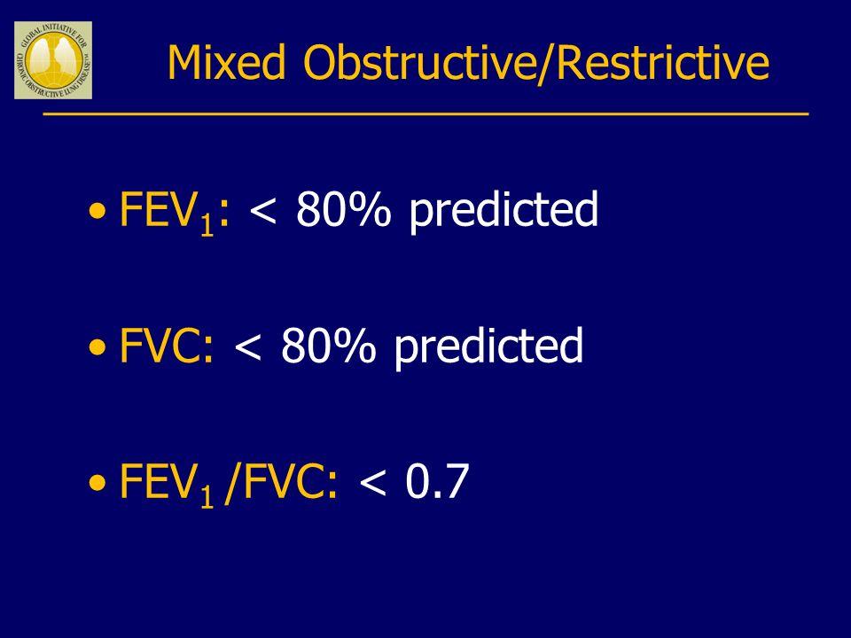 Mixed Obstructive/Restrictive FEV 1 : < 80% predicted FVC: < 80% predicted FEV 1 /FVC: < 0.7