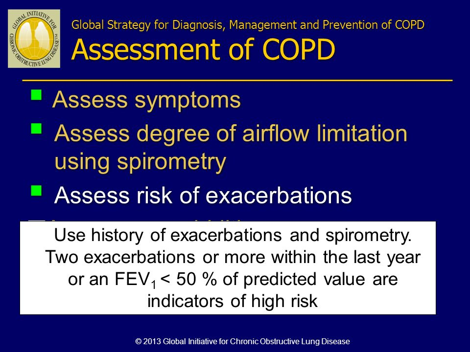 Assess symptoms Assess degree of airflow limitation using spirometry Assess risk of exacerbations Assess comorbidities Assess symptoms Assess degree of airflow limitation using spirometry Assess risk of exacerbations Assess comorbidities Use history of exacerbations and spirometry.
