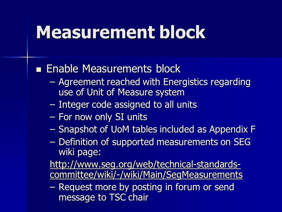 Measurement block Enable Measurements block Enable Measurements block –Agreement reached with Energistics regarding use of Unit of Measure system –Int