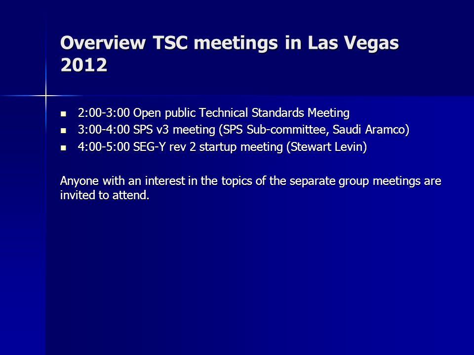 Overview TSC meetings in Las Vegas 2012 2:00-3:00 Open public Technical Standards Meeting 2:00-3:00 Open public Technical Standards Meeting 3:00-4:00