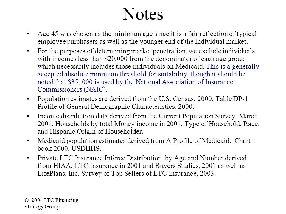 © 2004 LTC Financing Strategy Group Notes Age 45 was chosen as the minimum age since it is a fair reflection of typical employee purchasers as well as the younger end of the individual market.
