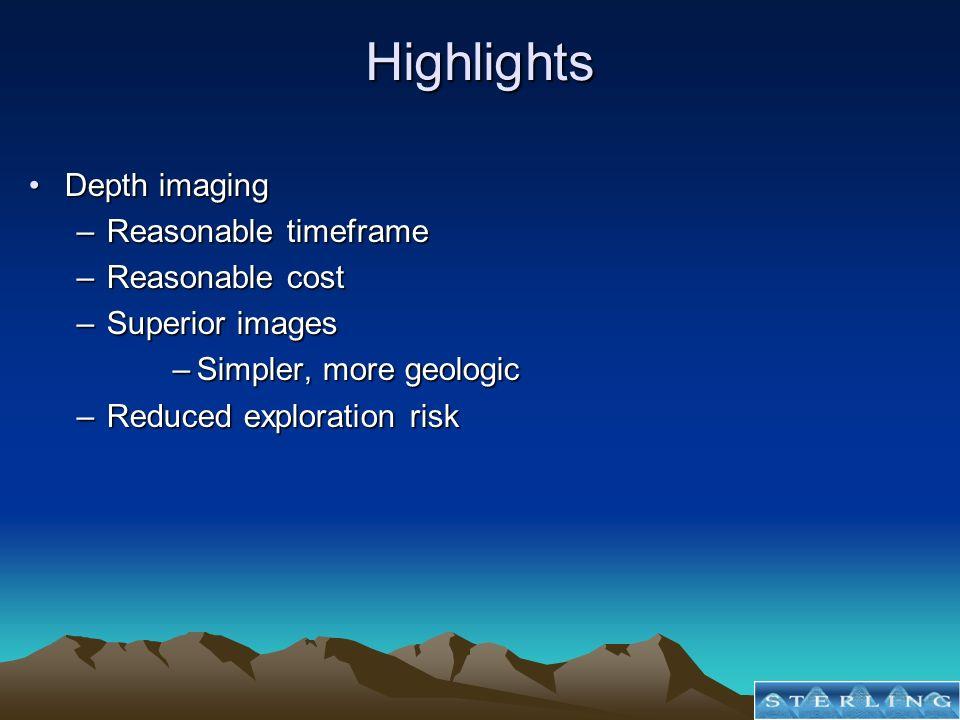 Highlights Depth imagingDepth imaging –Reasonable timeframe –Reasonable cost –Superior images –Simpler, more geologic –Reduced exploration risk