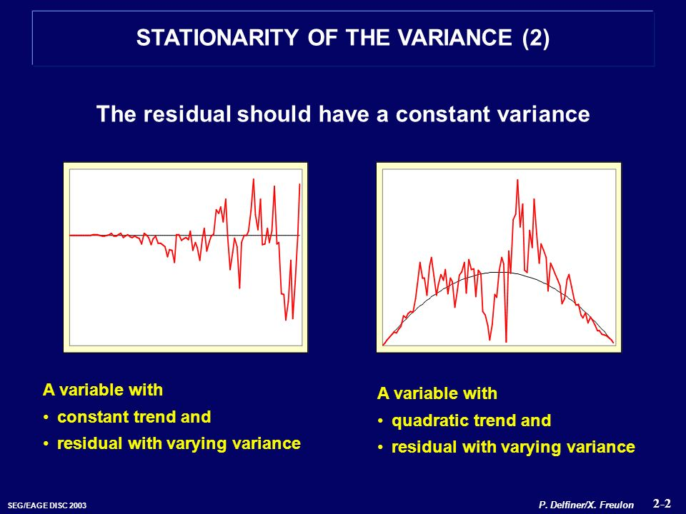 SEG/EAGE DISC 2003 The residual should have a constant variance A variable with constant trend and residual with varying variance A variable with quad
