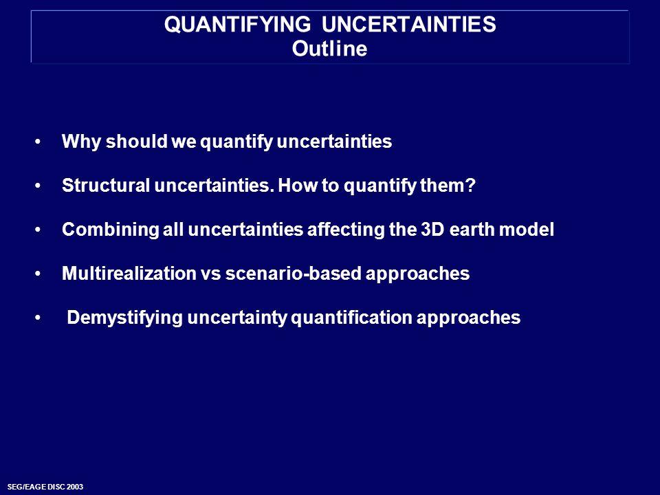 SEG/EAGE DISC 2003 QUANTIFYING UNCERTAINTIES Outline Why should we quantify uncertainties Structural uncertainties. How to quantify them? Combining al