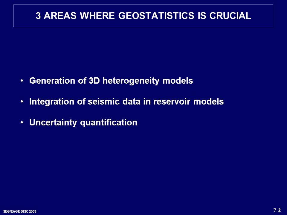 SEG/EAGE DISC 2003 Generation of 3D heterogeneity models Integration of seismic data in reservoir models Uncertainty quantification 3 AREAS WHERE GEOS
