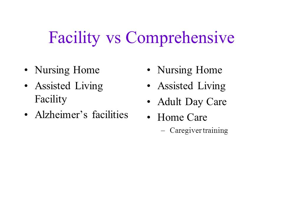 Facility vs Comprehensive Nursing Home Assisted Living Facility Alzheimers facilities Nursing Home Assisted Living Adult Day Care Home Care –Caregiver training