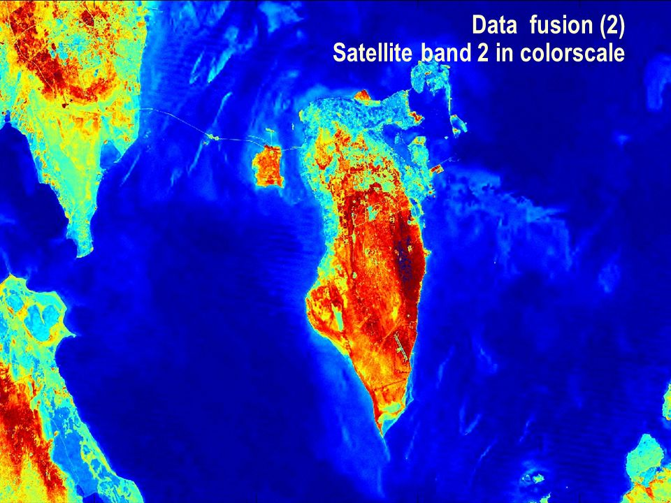 SEG Data Fusion Workshop Vancouver 2007 / 13 Data fusion (2) Satellite band 2 in colorscale