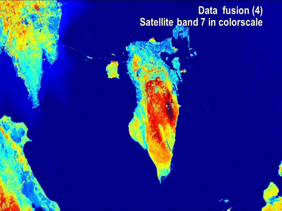 SEG Data Fusion Workshop Vancouver 2007 / 15 Data fusion (4) Satellite band 7 in colorscale