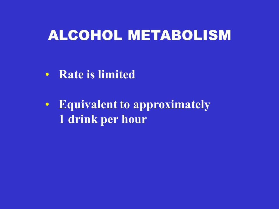 ALCOHOL METABOLISM Rate is limited Equivalent to approximately 1 drink per hour