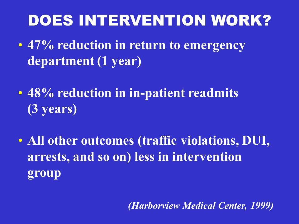 DOES INTERVENTION WORK? 47% reduction in return to emergency department (1 year) 48% reduction in in-patient readmits (3 years) All other outcomes (tr