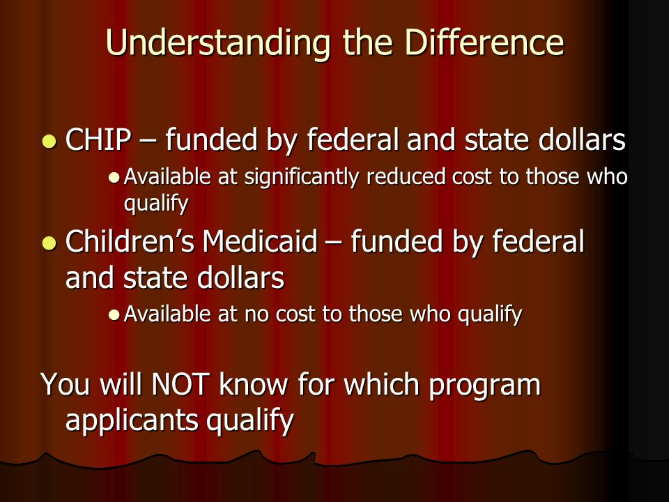 Understanding the Difference CHIP – funded by federal and state dollars CHIP – funded by federal and state dollars Available at significantly reduced cost to those who qualify Available at significantly reduced cost to those who qualify Childrens Medicaid – funded by federal and state dollars Childrens Medicaid – funded by federal and state dollars Available at no cost to those who qualify Available at no cost to those who qualify You will NOT know for which program applicants qualify