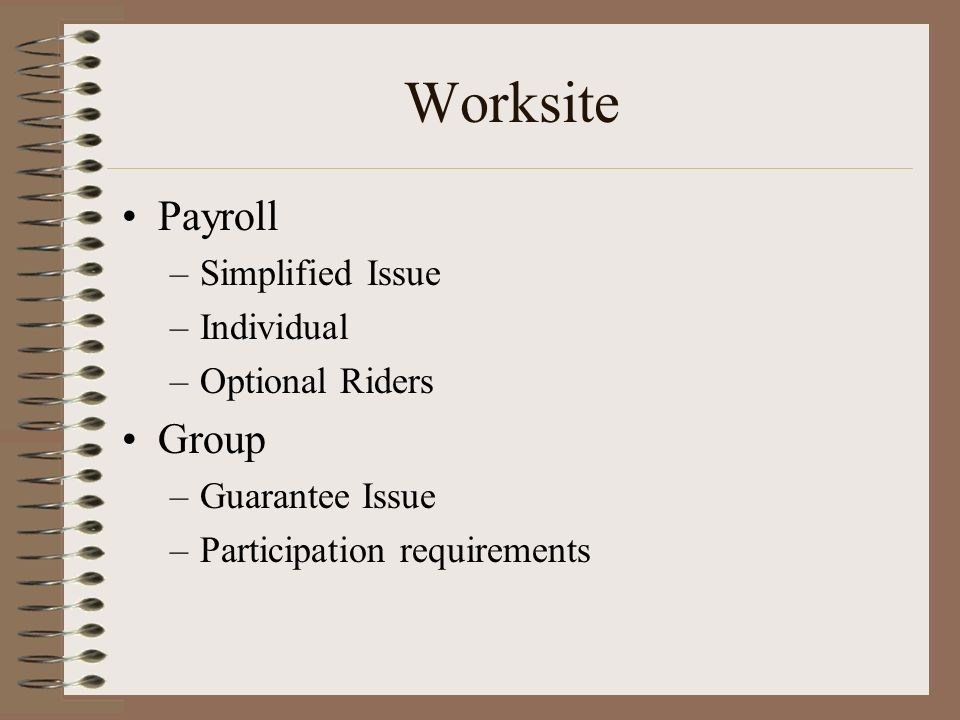 Worksite Payroll –Simplified Issue –Individual –Optional Riders Group –Guarantee Issue –Participation requirements