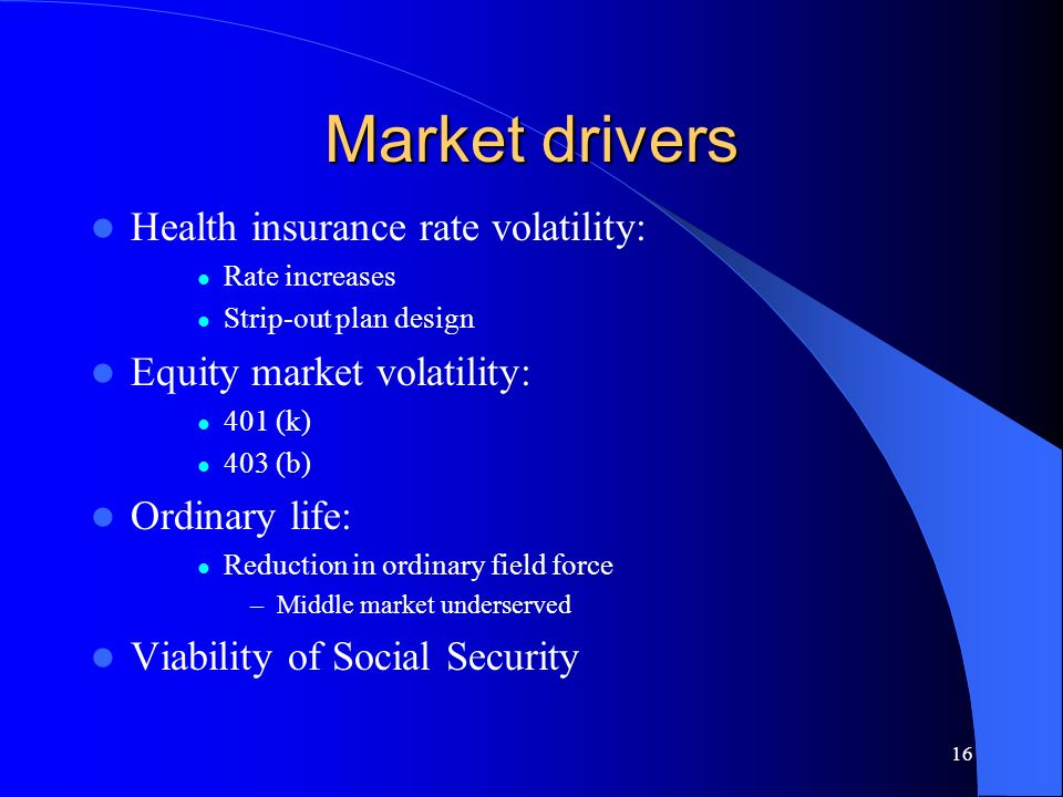 16 Market drivers Health insurance rate volatility: Rate increases Strip-out plan design Equity market volatility: 401 (k) 403 (b) Ordinary life: Reduction in ordinary field force –Middle market underserved Viability of Social Security