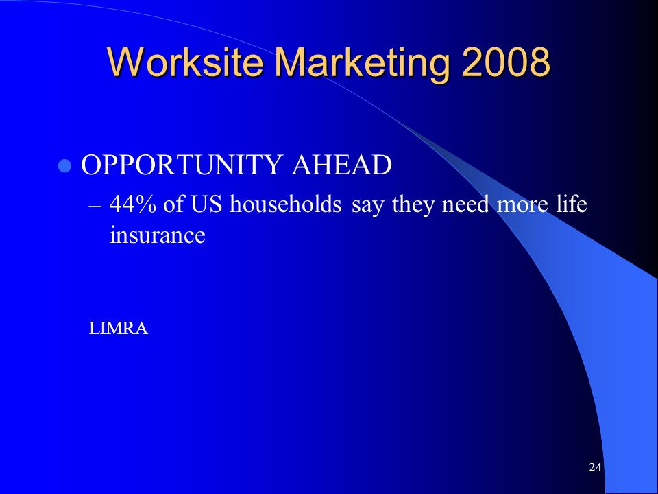 24 Worksite Marketing 2008 OPPORTUNITY AHEAD – 44% of US households say they need more life insurance LIMRA