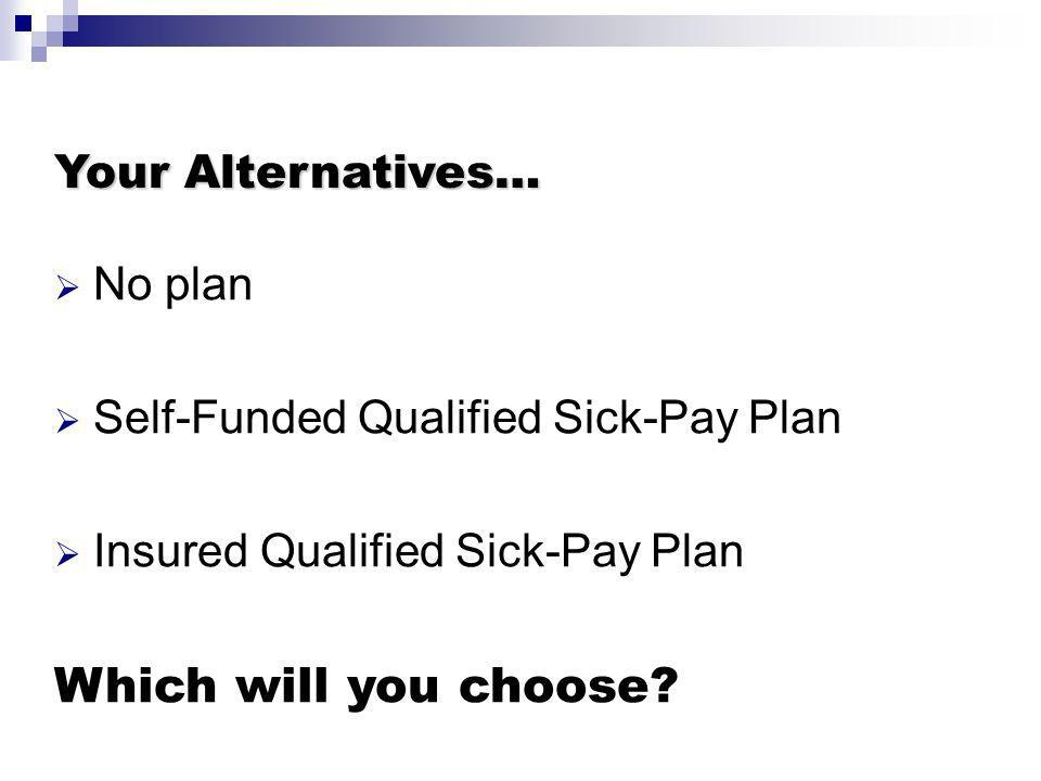 Your Alternatives… No plan Self-Funded Qualified Sick-Pay Plan Insured Qualified Sick-Pay Plan Which will you choose?
