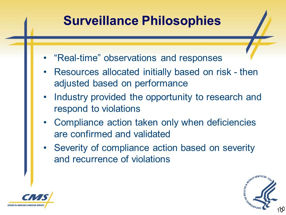 10 Surveillance Philosophies Real-time observations and responses Resources allocated initially based on risk - then adjusted based on performance Industry provided the opportunity to research and respond to violations Compliance action taken only when deficiencies are confirmed and validated Severity of compliance action based on severity and recurrence of violations 10