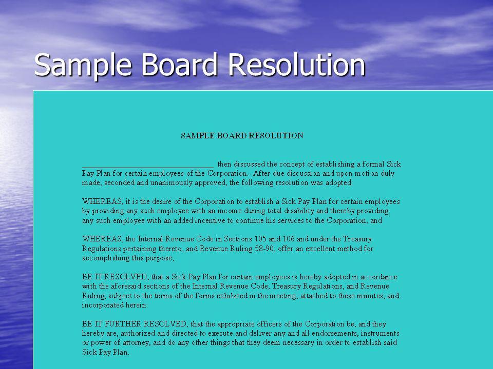 Sample Board Resolution