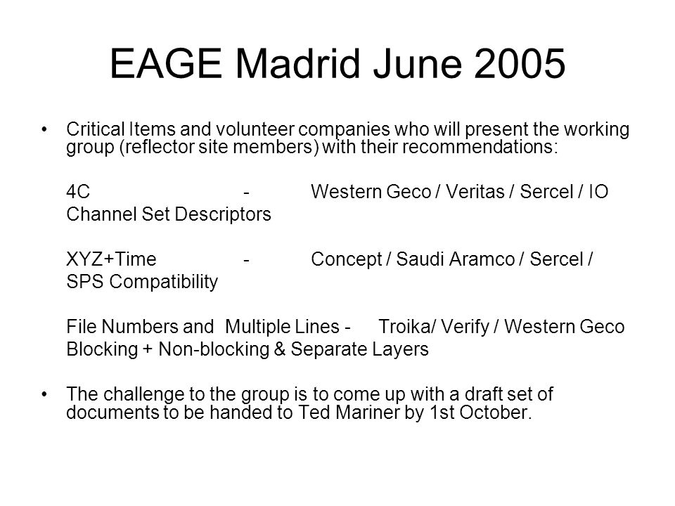 EAGE Madrid June 2005 Critical Items and volunteer companies who will present the working group (reflector site members) with their recommendations: 4