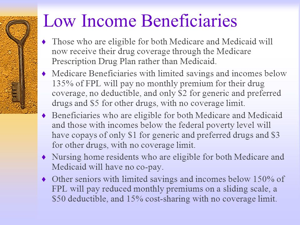 Low Income Beneficiaries Those who are eligible for both Medicare and Medicaid will now receive their drug coverage through the Medicare Prescription