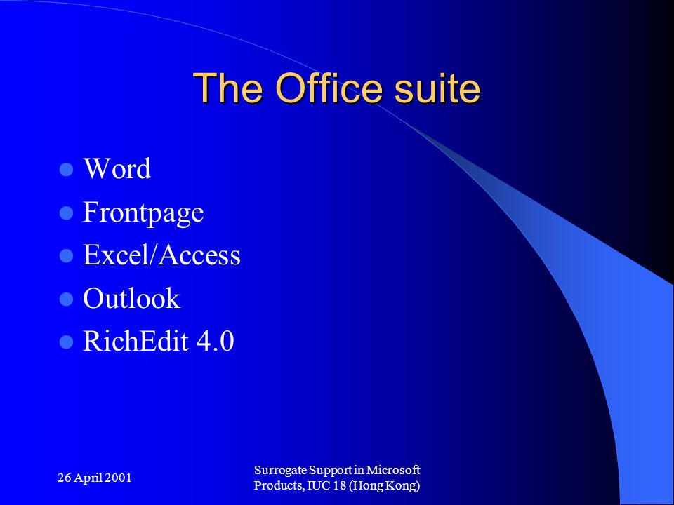 26 April 2001 Surrogate Support in Microsoft Products, IUC 18 (Hong Kong) The Office suite Word Frontpage Excel/Access Outlook RichEdit 4.0