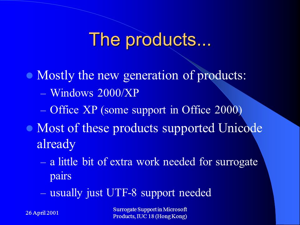 26 April 2001 Surrogate Support in Microsoft Products, IUC 18 (Hong Kong) The products...
