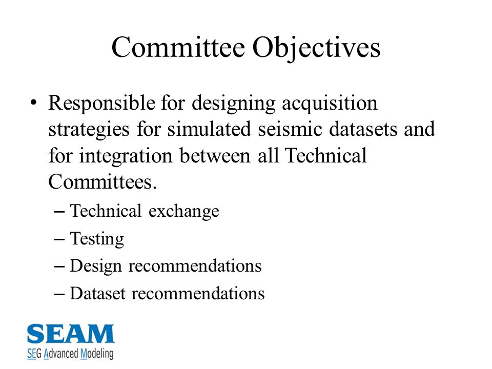Committee Objectives Responsible for designing acquisition strategies for simulated seismic datasets and for integration between all Technical Committees.