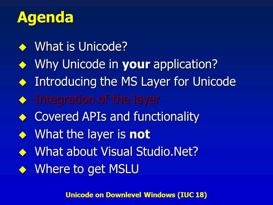 Unicode on Downlevel Windows (IUC 18) Agenda What is Unicode.