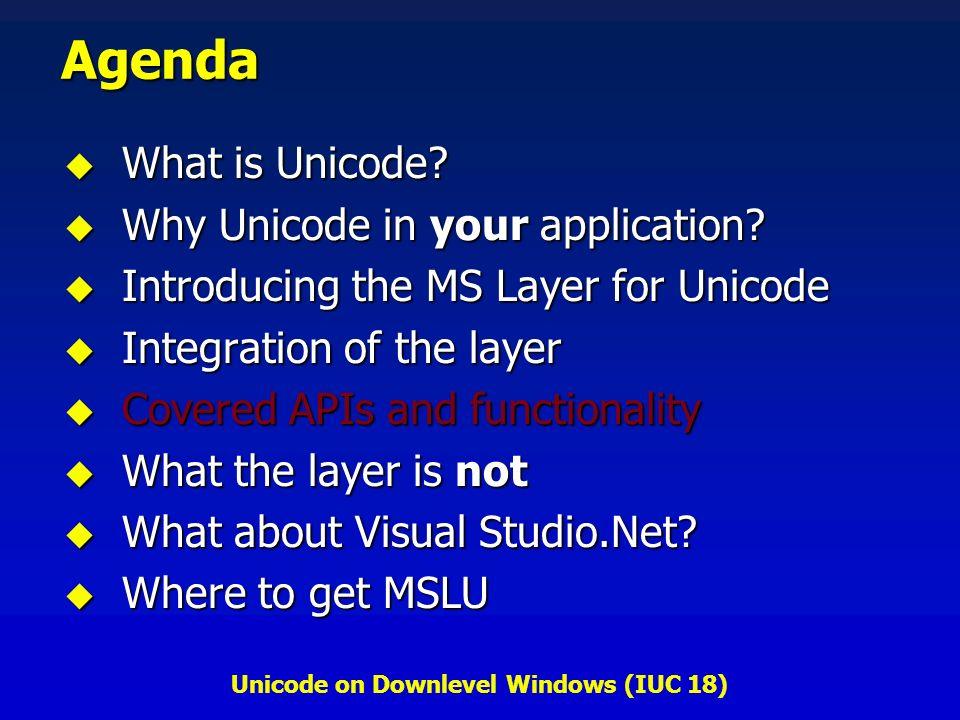 Unicode on Downlevel Windows (IUC 18) Agenda What is Unicode? What is Unicode? Why Unicode in your application? Why Unicode in your application? Intro