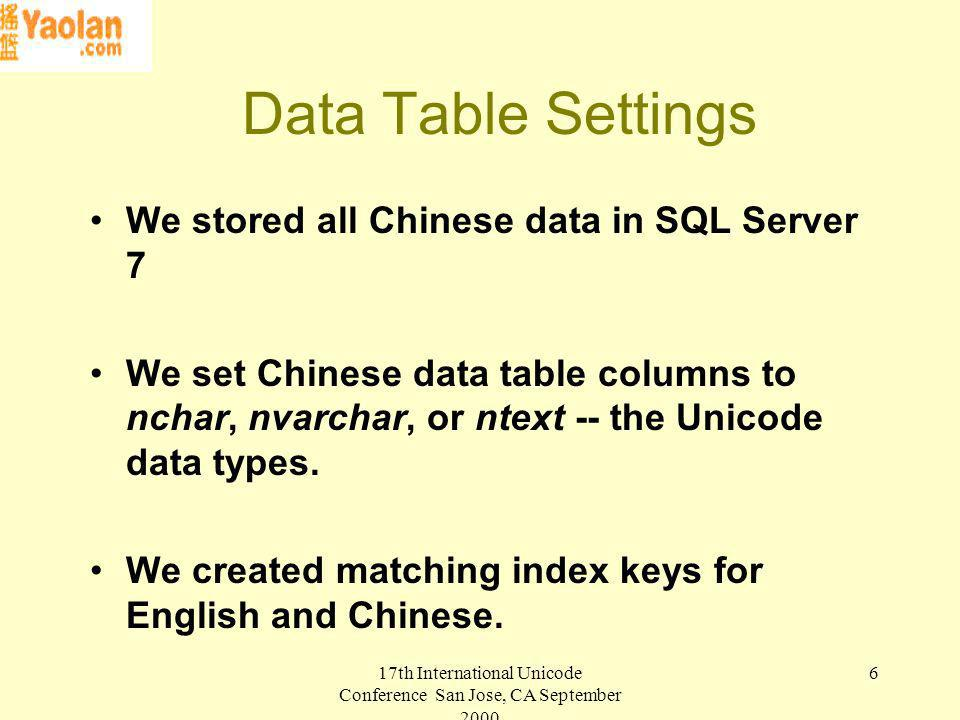 17th International Unicode Conference San Jose, CA September Data Table Settings We stored all Chinese data in SQL Server 7 We set Chinese data table columns to nchar, nvarchar, or ntext -- the Unicode data types.