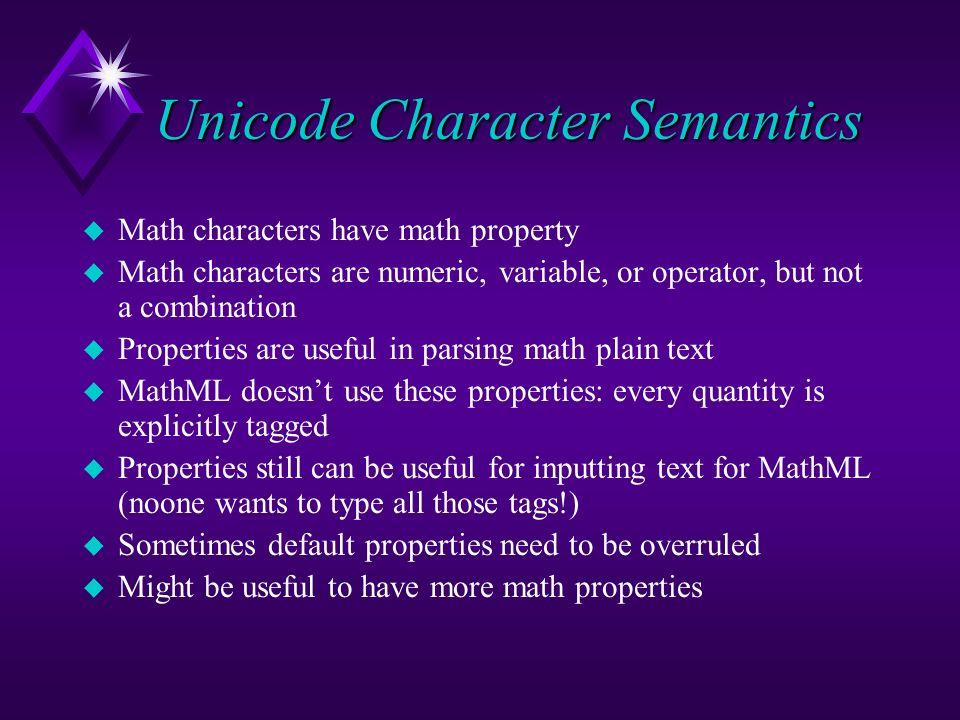Unicode Character Semantics u Math characters have math property u Math characters are numeric, variable, or operator, but not a combination u Propert