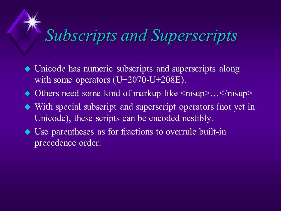 Subscripts and Superscripts u Unicode has numeric subscripts and superscripts along with some operators (U+2070-U+208E). u Others need some kind of ma