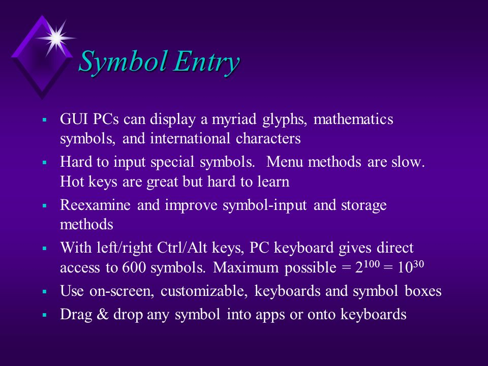 Symbol Entry GUI PCs can display a myriad glyphs, mathematics symbols, and international characters Hard to input special symbols. Menu methods are sl