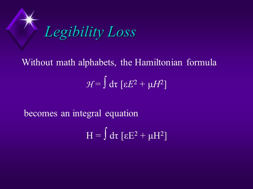 Legibility Loss Legibility Loss Without math alphabets, the Hamiltonian formula H = dτ [εE 2 + μH 2 ] becomes an integral equation H = dτ [εE 2 + μH 2