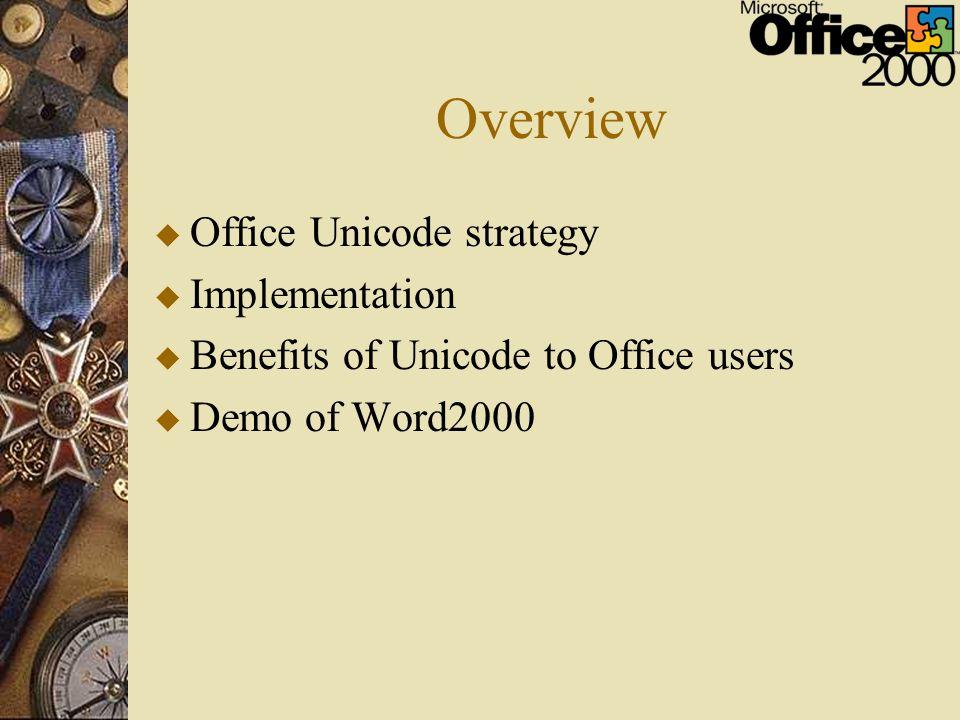 Overview u Office Unicode strategy u Implementation u Benefits of Unicode to Office users u Demo of Word2000