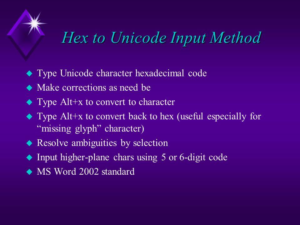 Hex to Unicode Input Method u Type Unicode character hexadecimal code u Make corrections as need be u Type Alt+x to convert to character u Type Alt+x