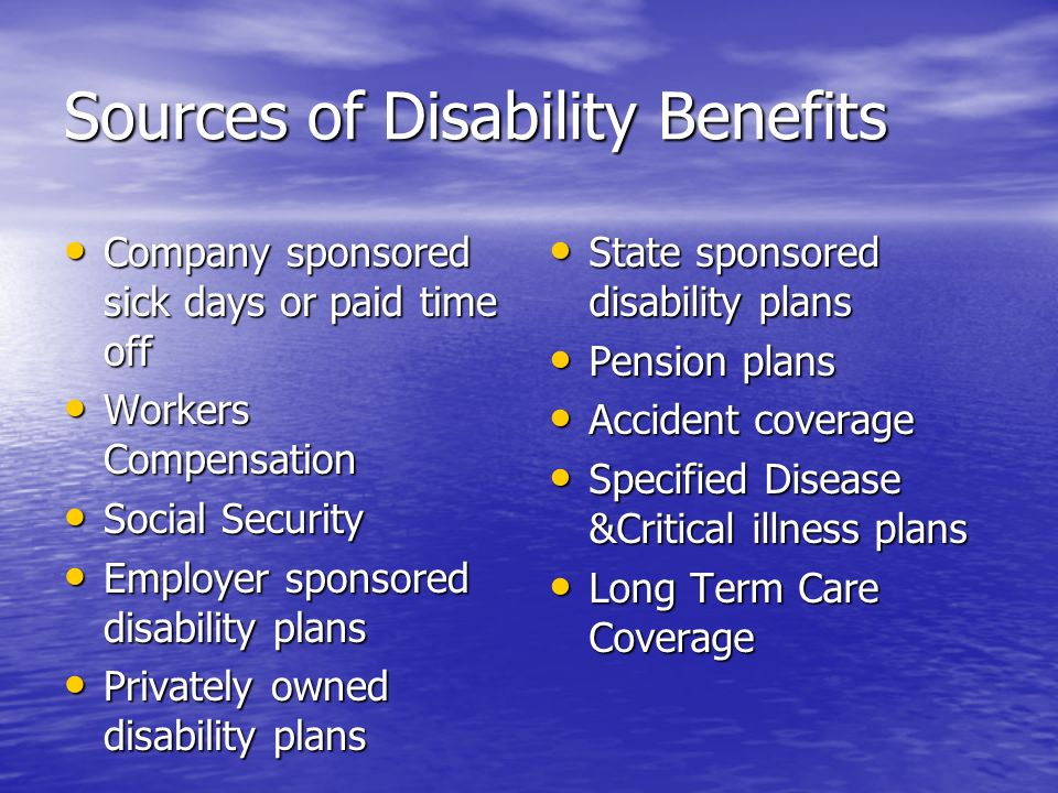 Sources of Disability Benefits Company sponsored sick days or paid time off Company sponsored sick days or paid time off Workers Compensation Workers