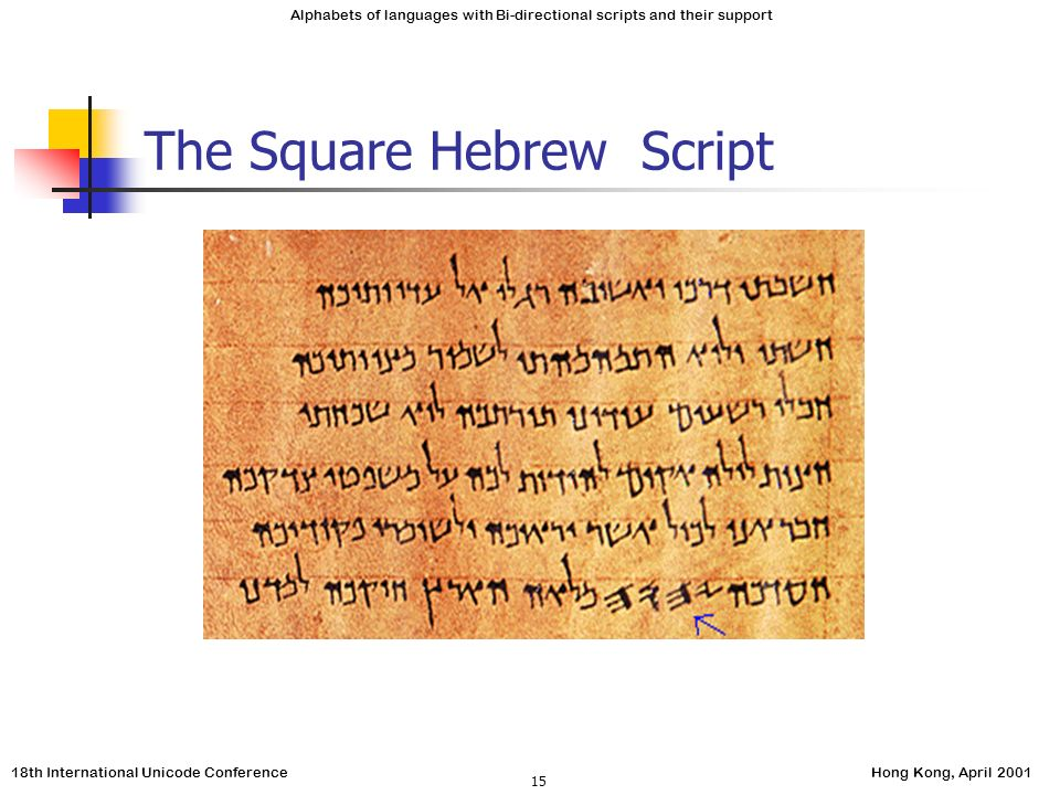 18th International Unicode ConferenceHong Kong, April 2001 Alphabets of languages with Bi-directional scripts and their support 15 The Square Hebrew Script