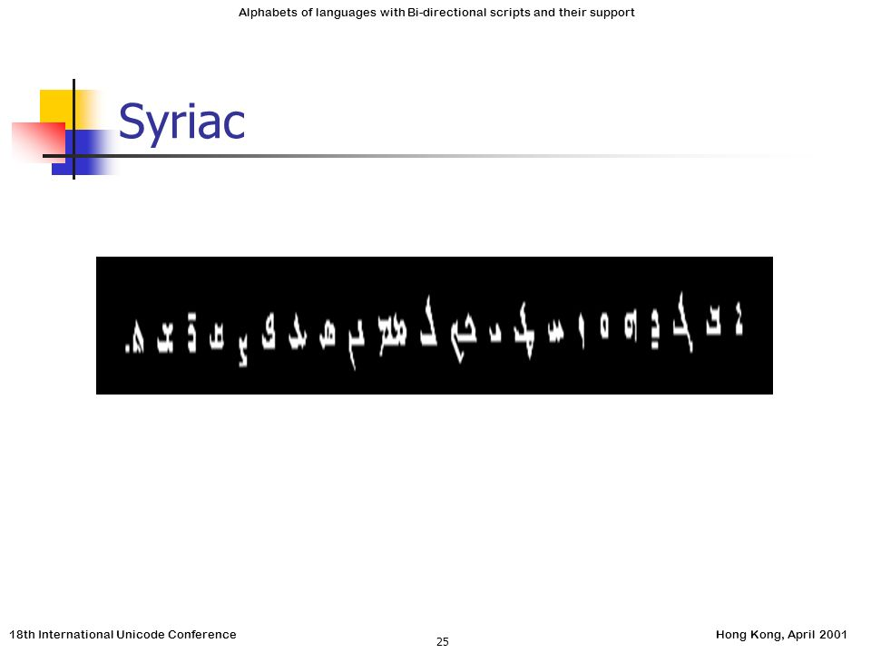 18th International Unicode ConferenceHong Kong, April 2001 Alphabets of languages with Bi-directional scripts and their support 25 Syriac